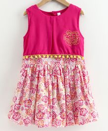 Kiddopanti Sleeveless Flower Printed Dress - Pink