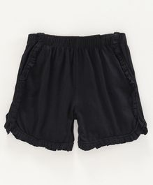 Kiddopanti Solid Frill Detailing Hot Shorts  - Black