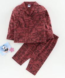 Teddy Full Sleeves Night Suit Vehicle Print - Maroon