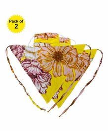 Hugsnug Reusable Scarf Style Face Mask Floral Print Yellow - Pack of 2