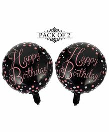 Amfin Happy Birthday Foil Balloons Black - Pack of 2