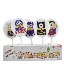 Party Anthem Super Hero Theme Birthday Candle Multicolor - Pack of 5