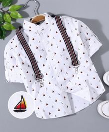 Robo Fry Full Sleeves Party Wear Shirt with Suspenders  -White