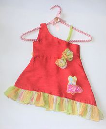 Barbie by Many Frocks & Sleeveless Flower Applique Dress - Red