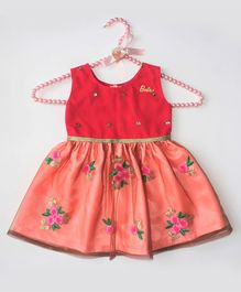 Barbie by Many Frocks & Sleeveless Flower Embroidery Detailing Dress - Pink & Peach