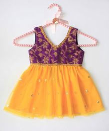 Barbie by Many Frocks & Sleeveless Brocade Party Dress - Purple & Yellow