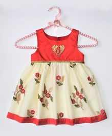 Barbie by Many Frocks & Sleeveless Flower Embroidery Detailing Dress - Red & Cream