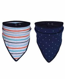 Grandma's Bandana Bib Stripes & Polka Dot Print Pack Of 2 - Navy White