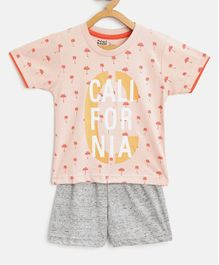 Mumble Jumble Half Sleeves All Over Palm Tree Printed Tee & Shorts Set - Peach