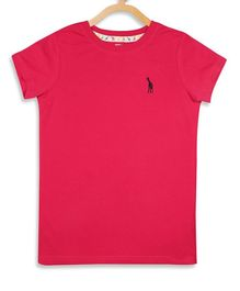 Blue Giraffe Half Sleeves Solid Color T-Shirt - Fushia
