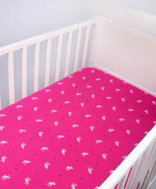 Blooming Buds Flannel Fitted Crib Sheet Reindeer Print - Pink