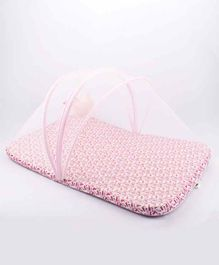 Blooming Buds Mattress with Mosquito Net & Hanging Toy Rose Print - Pink