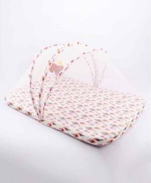 Blooming Buds Mattress with Mosquito Net & Hanging Toy Ice Cream Print - Multicolor