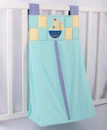 Blooming Buds Sailboat Embroidery Diaper Stacker - Blue