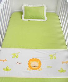 Blooming Buds Cotton Cot Sheet and Pillow Cover Animal Embroidery - Green