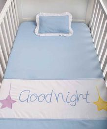 Blooming Buds Cotton Cot Sheet and Pillow Cover Good Night Embroidery - Blue