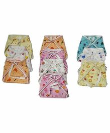 Chirsh Hosiery Cotton Cloth Nappies Pack of 10 - Multicolor