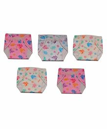 Chirsh Cloth Diaper Teddy Print Pack of 5 - Pink White
