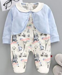 Brats and Dolls Full Sleeves Footed Romper With Attached Shrug Multiprint - Blue White