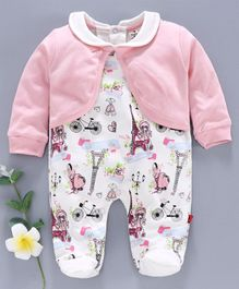 Brats and Dolls Full Sleeves Footed Romper With Attached Shrug Multiprint - Pink White