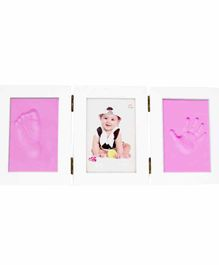 EZ Life Photo Wooden Wall Frame with Hand & Foot Permanent Impressions - Pink