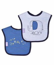 Mi Arcus Safari Weaning Baby Bib Pack of 2 - Blue & Grey