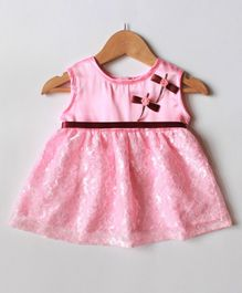 Many frocks & Sleeveless Bow & Rose Detailed Flower Embroidery Fit & Flare Baby Party Dress - Pink