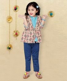 LIL PITAARA Three Fourth Sleeves Jacket With Top - Multicolor