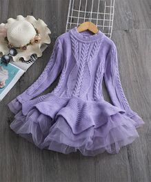 Awabox Full Sleeves Cable Pattern Sweater Dress - Purple