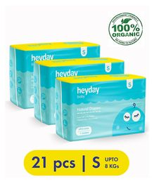 Heyday Natural & Organic Small  Baby Diapers Pack of 3 - 21 Pieces