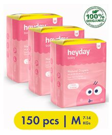 Heyday Natural & Organic Medium Baby Diapers Pack of 3 - 150 Pieces