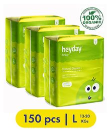 Heyday Natural & Organic Large Baby Diapers Pack of 3 - 150 Pieces