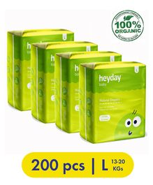 Heyday Natural & Organic Large Baby Diapers Pack of 4 - 200 Pieces