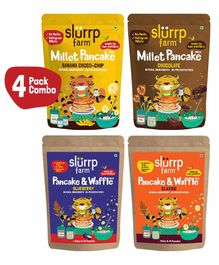 Slurrp Farm Healthy Pancake Lover Combo Blueberry, Classic, Banana & Chocolate, Goodness of Multi Millets - 150 gm each