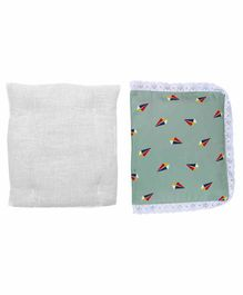 Grandma's Premium Finger Millet Cotton Pillow with Cover Boat Print - Green