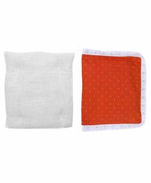 Grandma's Premium Finger Millet Cotton Pillow with Cover Polka Dot Print - Orange