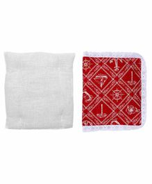Grandma's Premium Finger Millet Cotton Pillow with Cover Anchor Print - Red