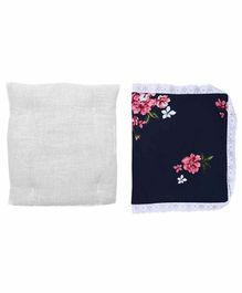 Grandma's Premium Finger Millet Cotton Pillow with Cover Floral Print - Dark Blue