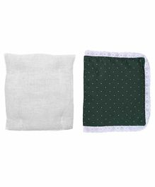 Grandma's Premium Finger Millet Cotton Pillow with Cover Polka Dot Print - Green