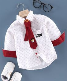Babyoye Full Sleeves Party Wear Shirt with Tie Polka Dot Print - White
