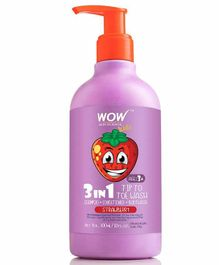 Wow Skin Science Tip To Toe Wash Shampoo Cum Conditioner Strawberry Flavour - 300 ml