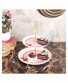 Quirky Monkey 2 Tier Cake Stand - Pink White