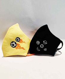 Little Secrets Washable & Reusable Face Mask Yellow Black - Pack of 2