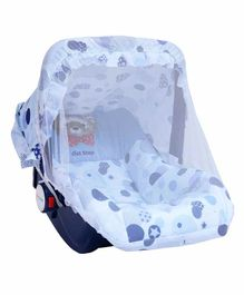 1st Step 5 in 1 Carrycot Cum Rocker With Anti Mosquito Mesh Bear Print - Blue