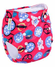 1st Step Size Adjustable Reusable Diaper With Diaper Liner Wheels Print - Red