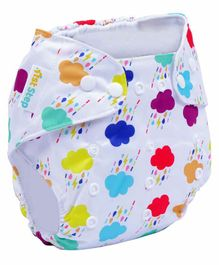 1st Step Size Adjustable Reusable Diaper With Diaper Liner Cloud Print - White