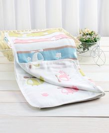 Zoe Premium Organic Cotton 6 Layer Blanket Helicopter Embroidered - Multicolor