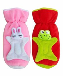 Brandonn Velvet Shearing Soft Bottle Cover With Motif Pink Red Pack of 2 - Fits up to 250 ml