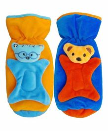 Brandonn Velvet Shearing Soft Bottle Cover With Motif Orange Blue Pack of 2 - Fits up to 250 ml