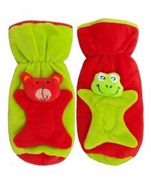 Brandonn Velvet Shearing Soft Bottle Cover With Motif Green Red Pack of 2 - Fits up to 250 ml